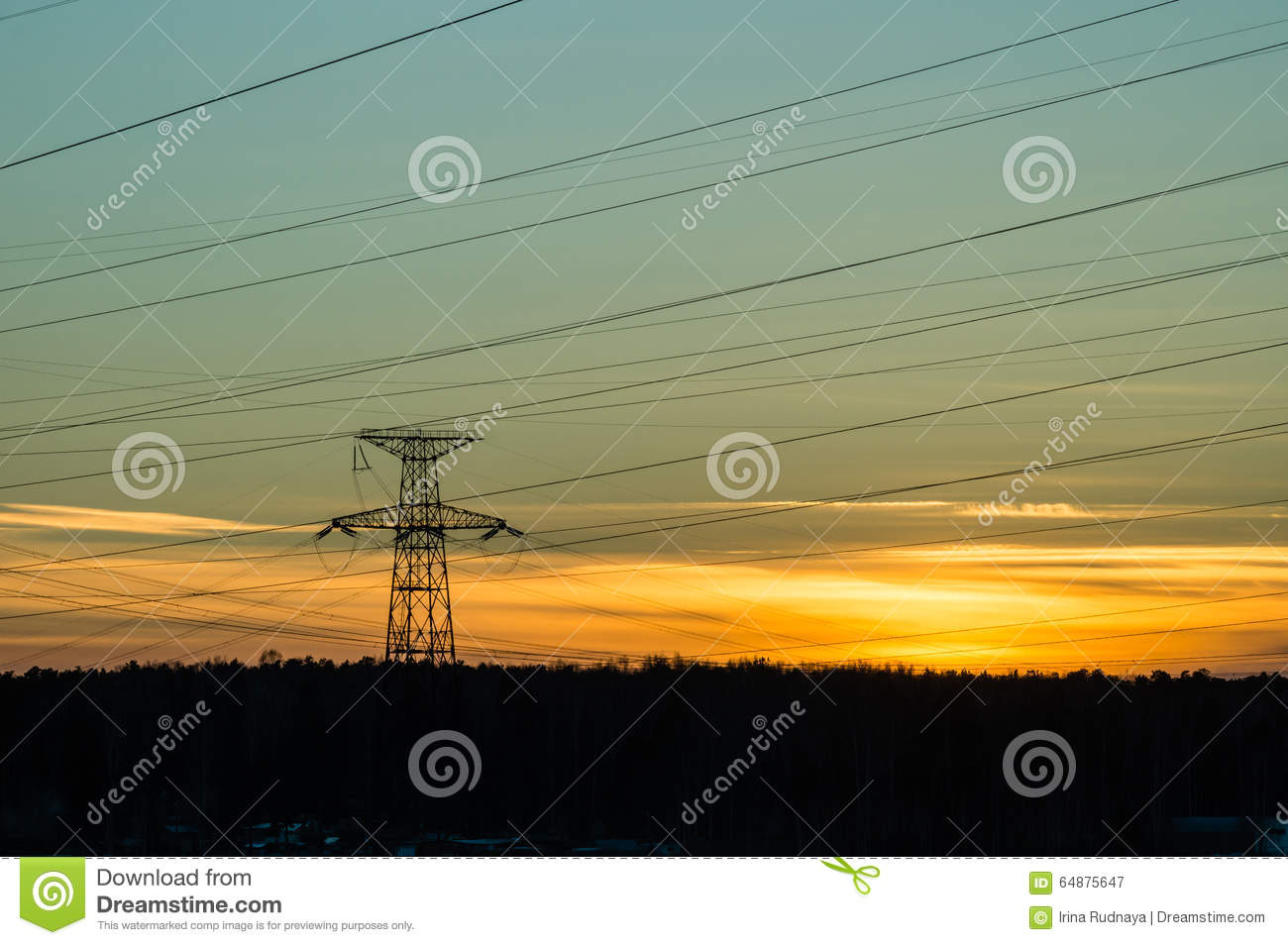Panorama Of High Voltage Power Lines Near Water At Sunset ...