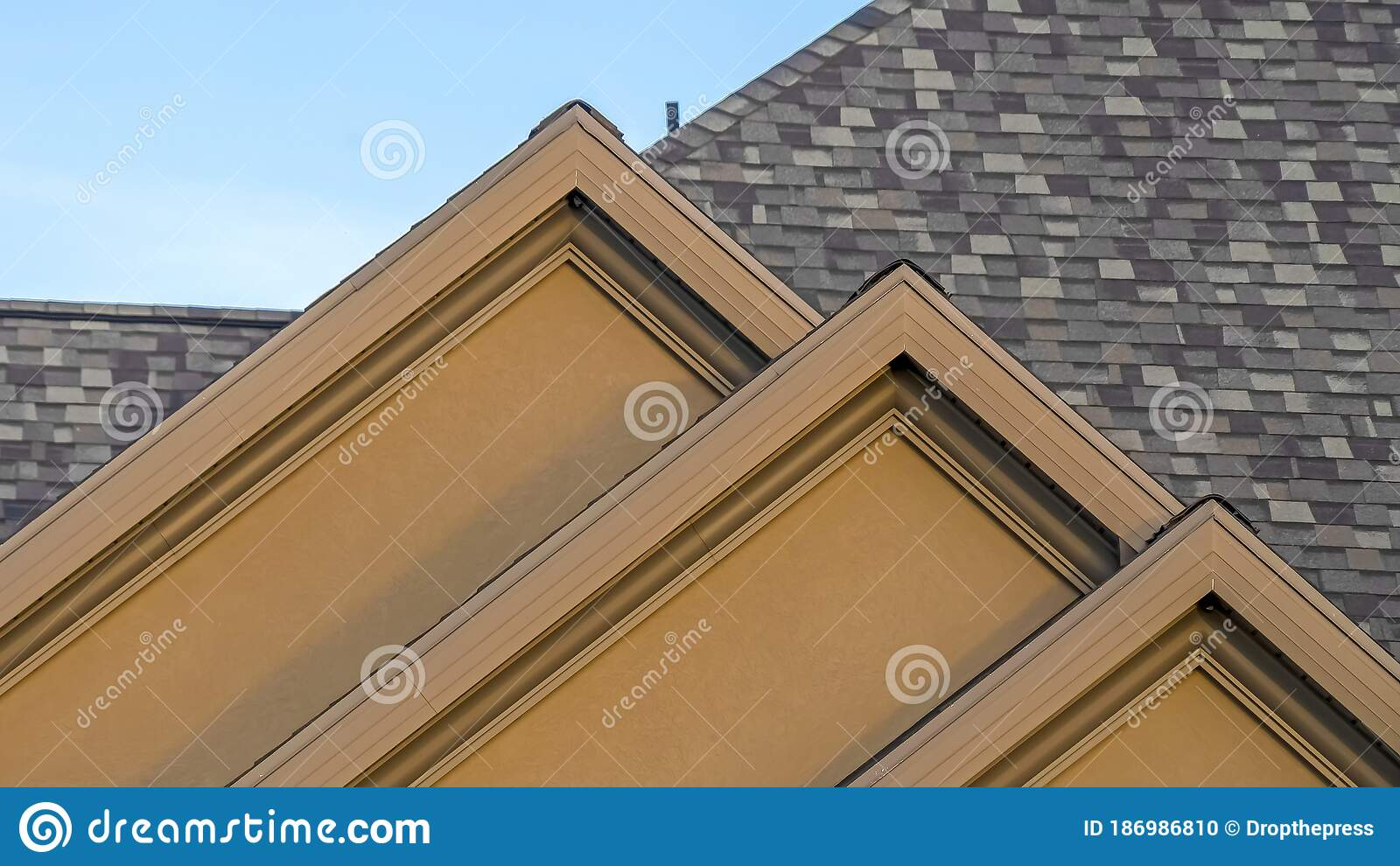 Panorama House Exterior With Front Gable Roof Design Against Blue Sky Background Stock Photo Image Of Estate Gable 186986810