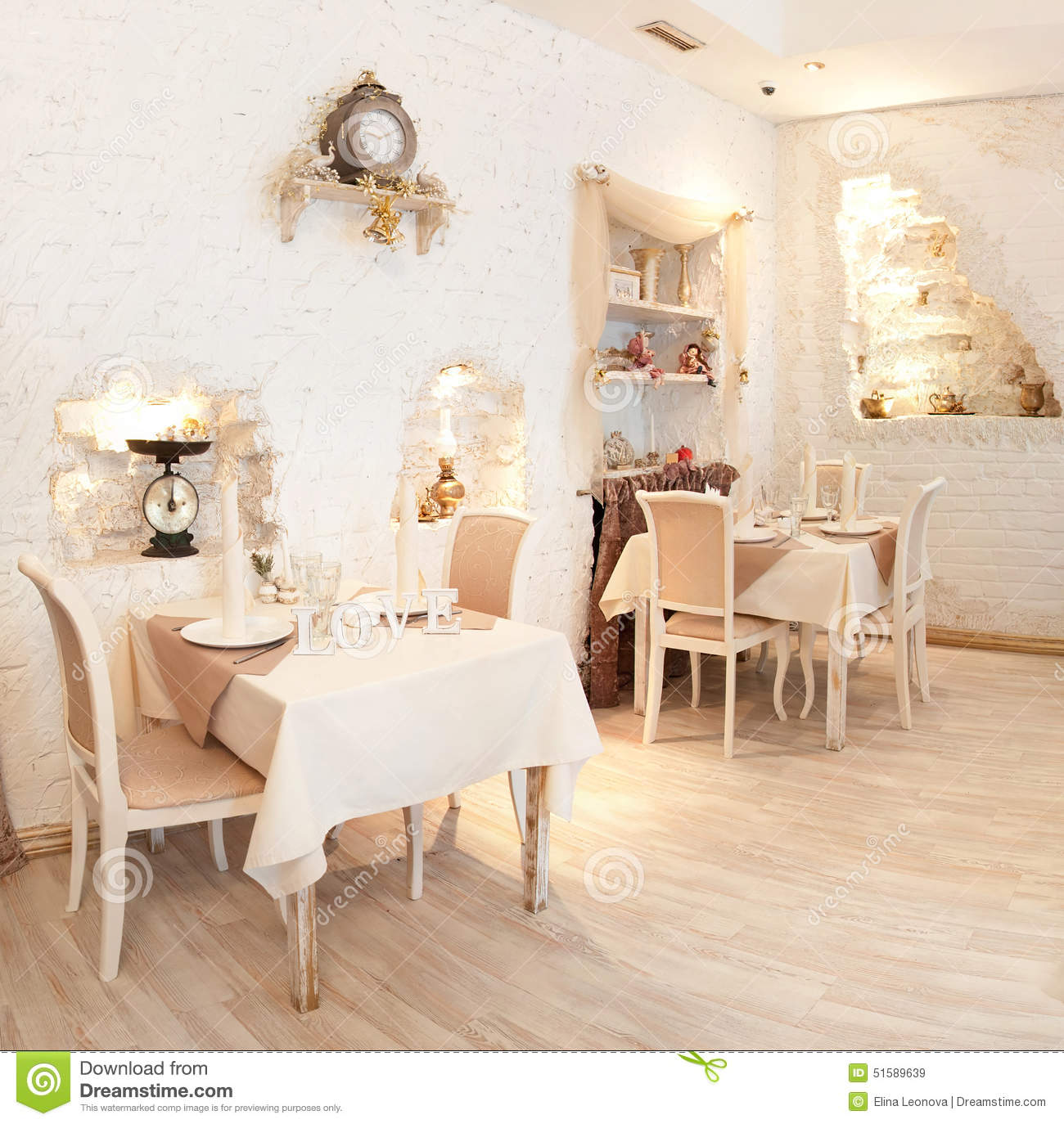 panorama. interior in restaurant. beige. tables stock photo