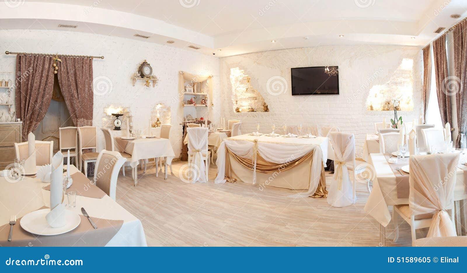 panorama. interior in restaurant. beige, tables, curtain stock