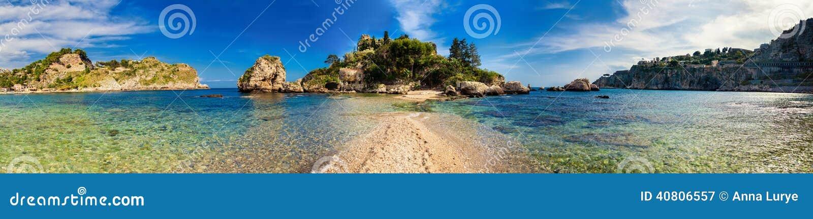 Panorama of Isola Bella in Taormina