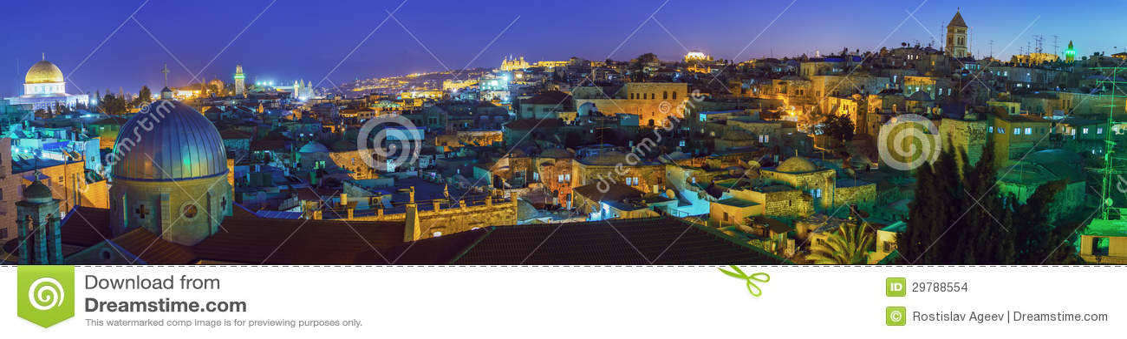 Panorama - Old City at Night, Jerusalem