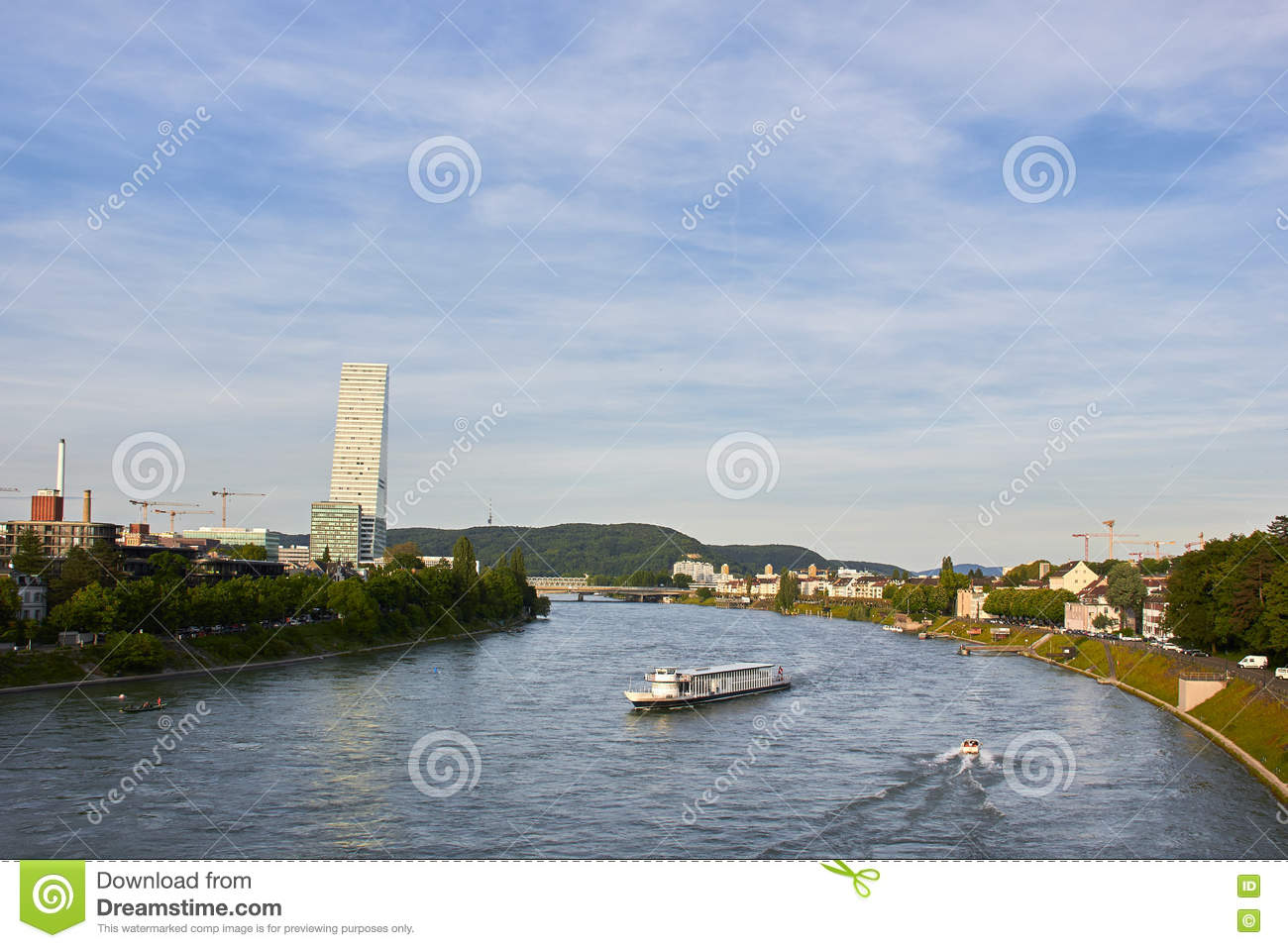 Panorama of Kleinbasel with Rhine, ships and Headquarter Building of Roche