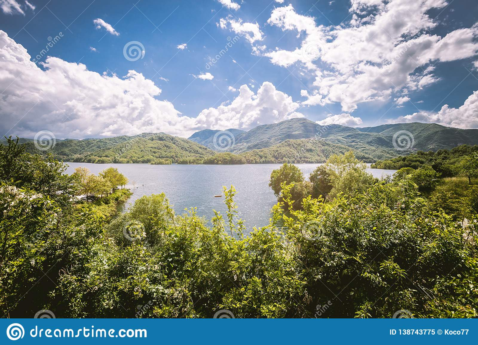 Panorama of a lake with green vegetation around. Natural basin with forest and mountains.