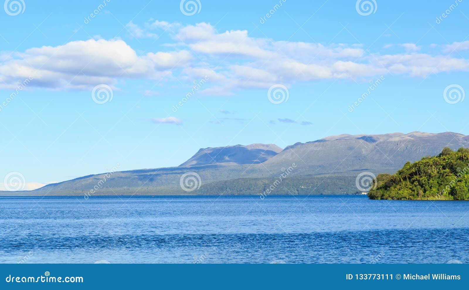 Panorama Of Lake Tarawera, New Zealand, With Mount Tarawera