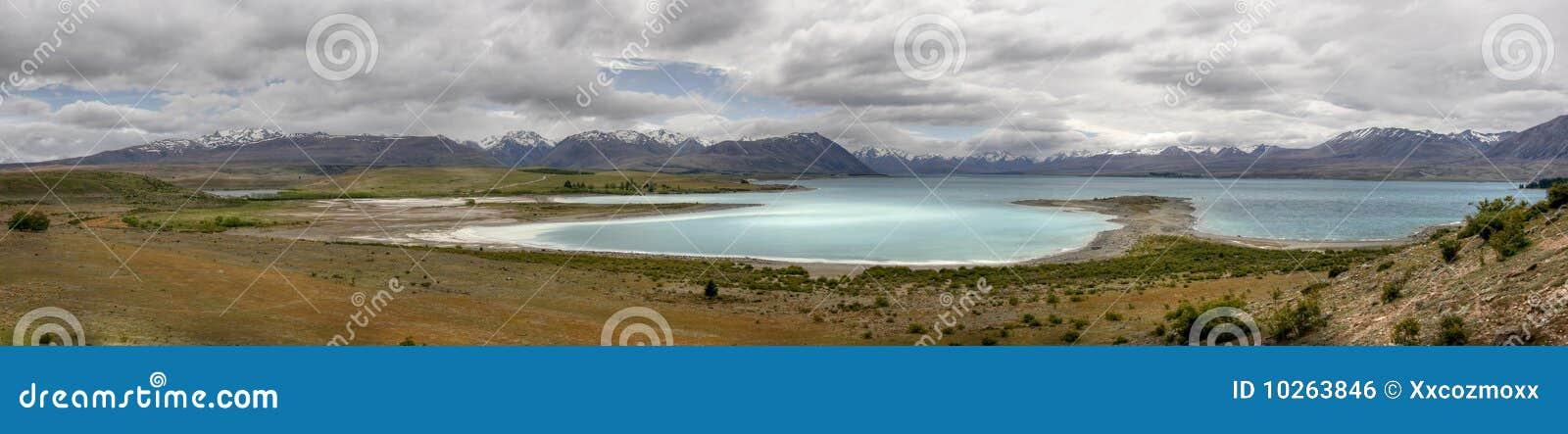 Panorama of lake tekapo in New Zealand