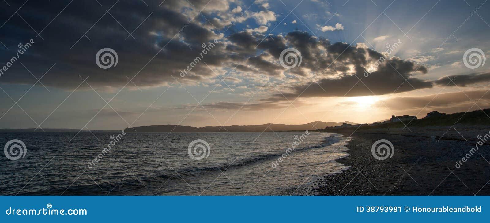 Panorama Landscape Beach Scene During Sunset Stock Image