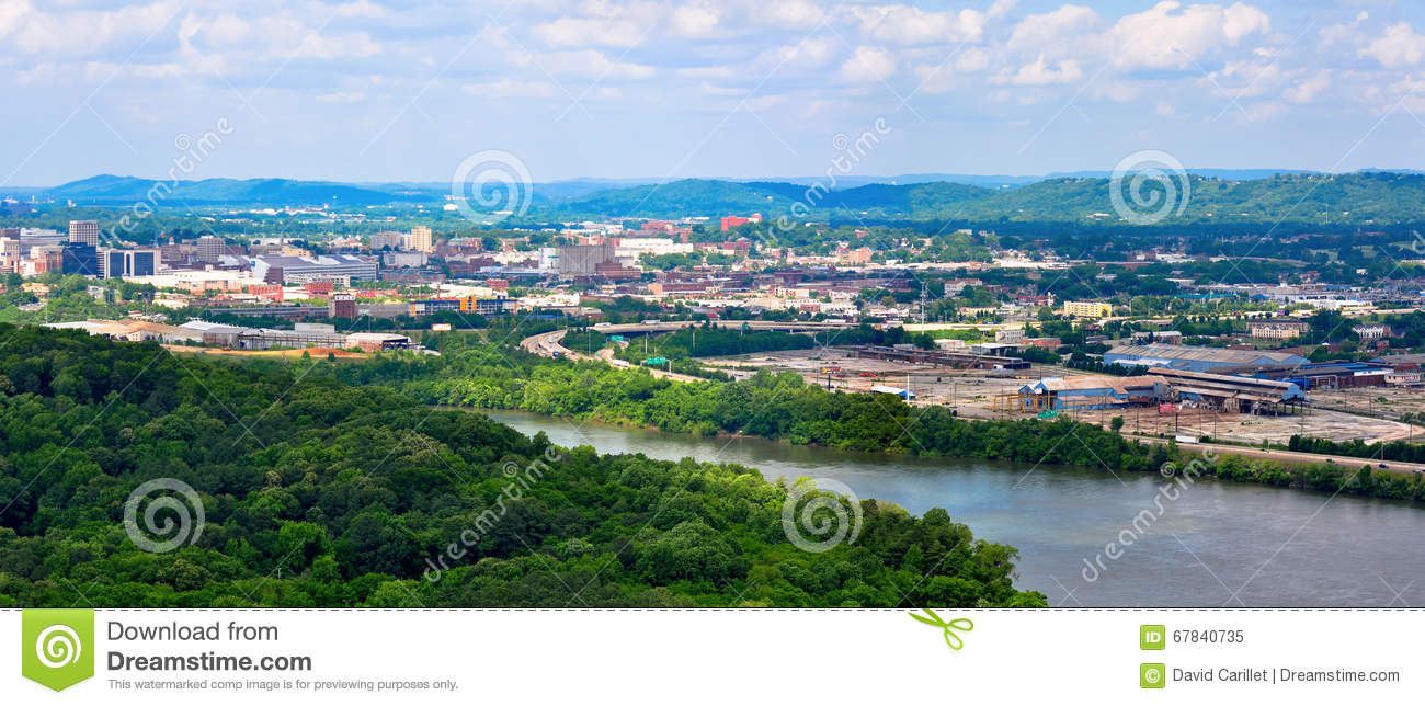 Panorama Landscape Of Chattanooga On The Tennessee River As