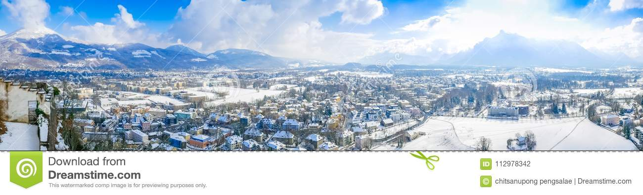 Panorama landscape view salzburg austria moutain blue sky city