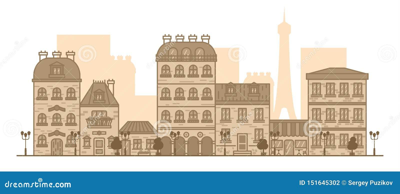 Panorama lineare piano del paesaggio della citt? con le costruzioni e le case turismo, viaggio all illustrazione di vettore di Pa