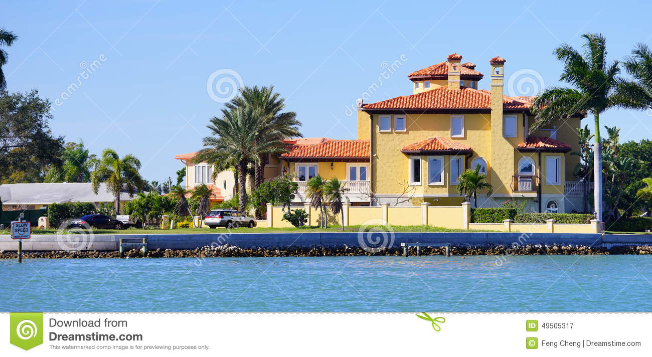 Panorama of luxury beach house with docking stock image for Luxury beach houses
