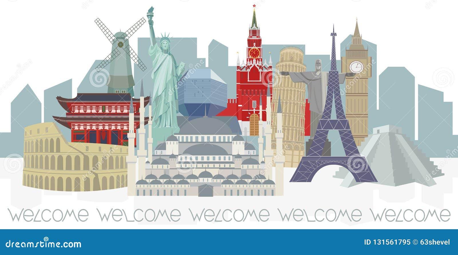 Panorama med arkitektoniska världsgränsmärken