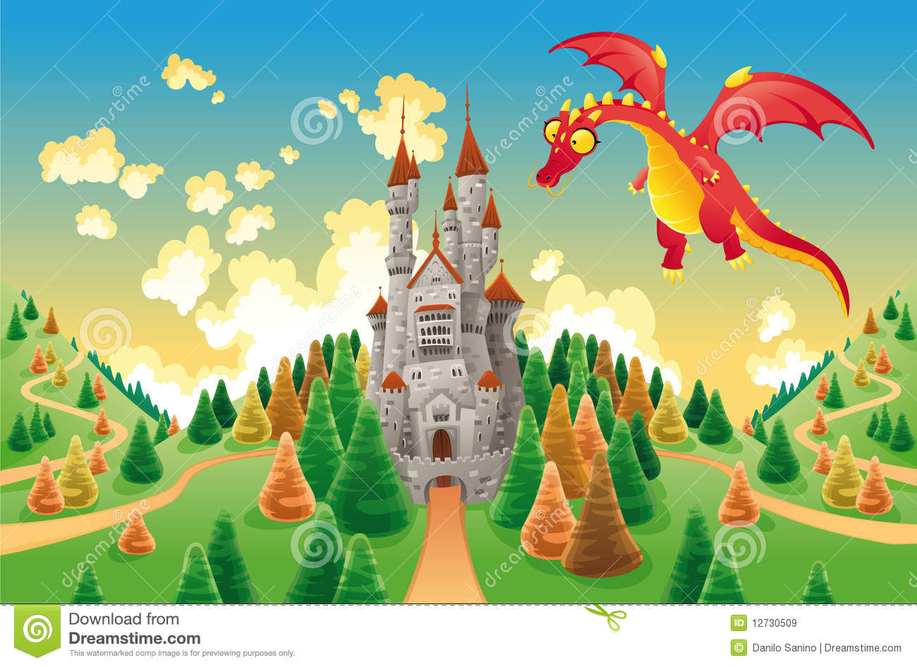 Panorama with medieval castle and dragon royalty free
