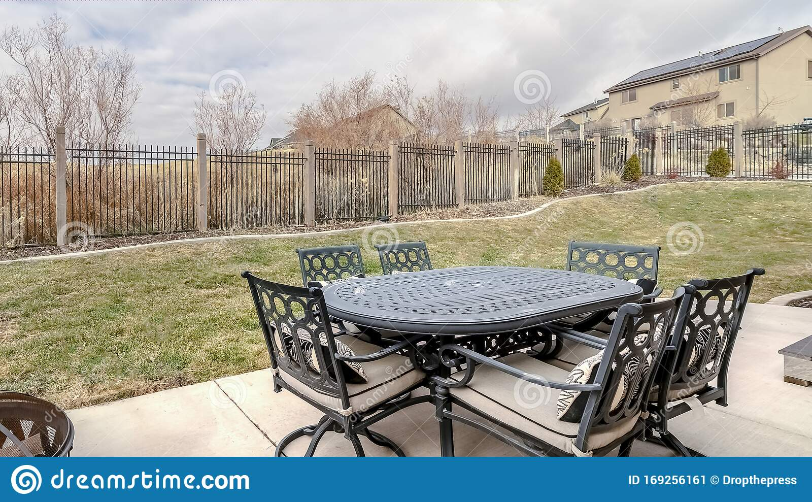 Panorama Modern Outdoor Dining Furniture With Table Day Light Stock Image Image Of Tourism Chair 169256161