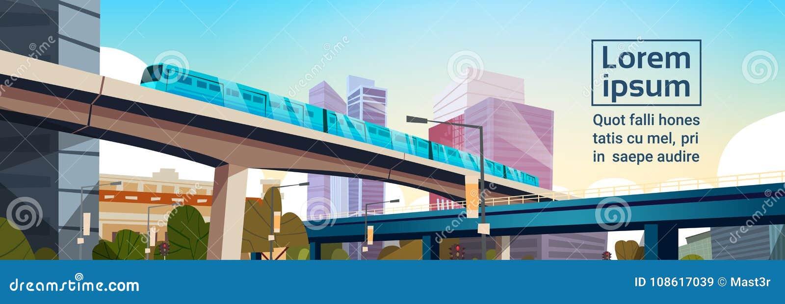 Panorama moderno da cidade com arranha-céus altos e a bandeira horizontal do fundo do molde da arquitetura da cidade do metro