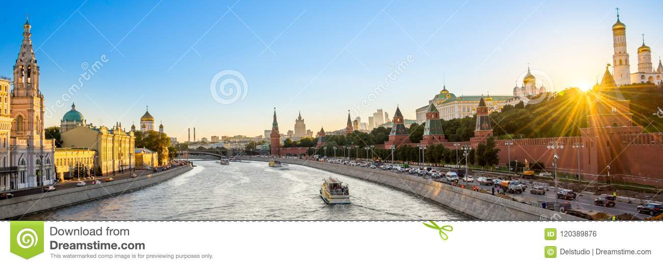 Panorama of the Moskva river with the Kremlin`s towers at sunset, Moscow Russia