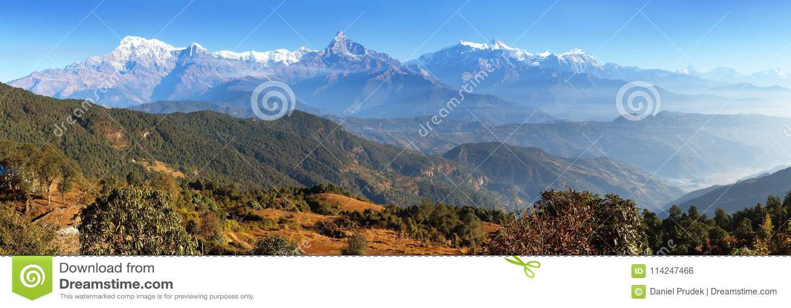Panorama of mount Annapurna range, Nepal Himalayas