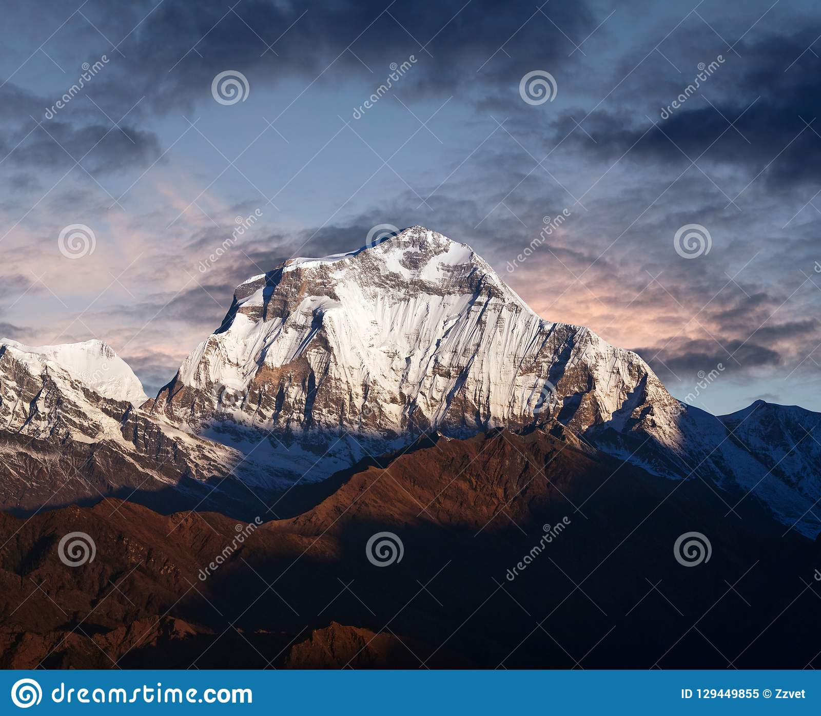 Panorama of mount Dhaulagiri at sunset, Nepal Himalaya