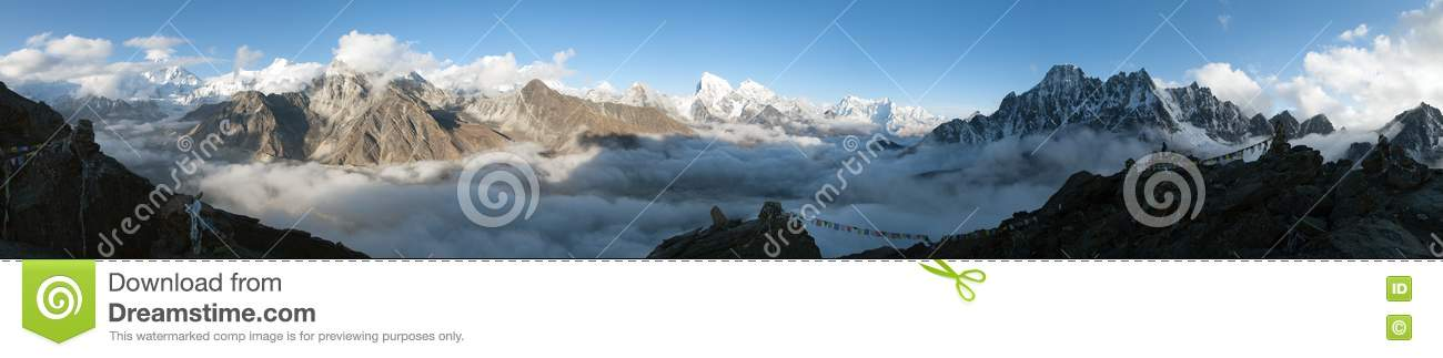 panorama of mount everest  lhotse  makalu and cho oyu free mountain clip art images free mountain clipart