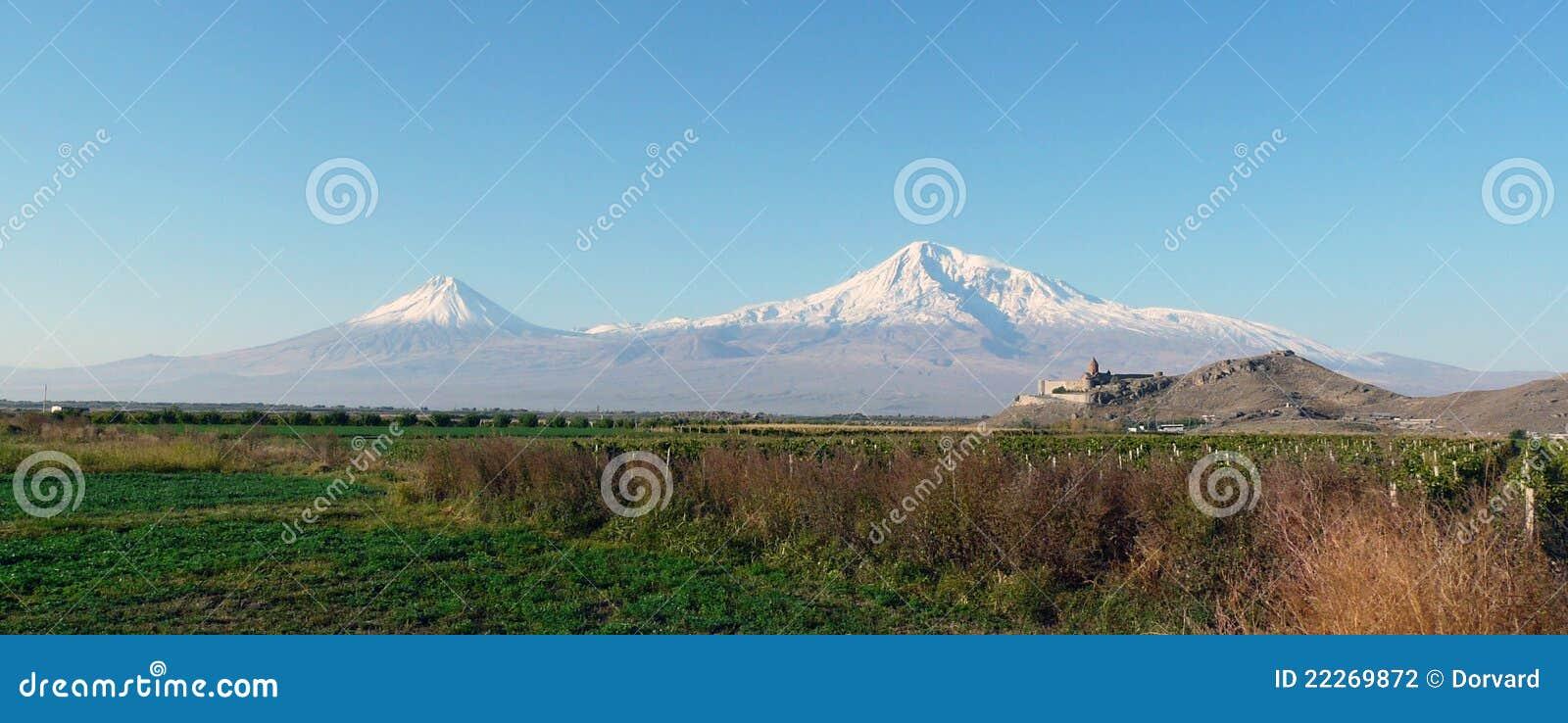Panorama on mountain Ararat