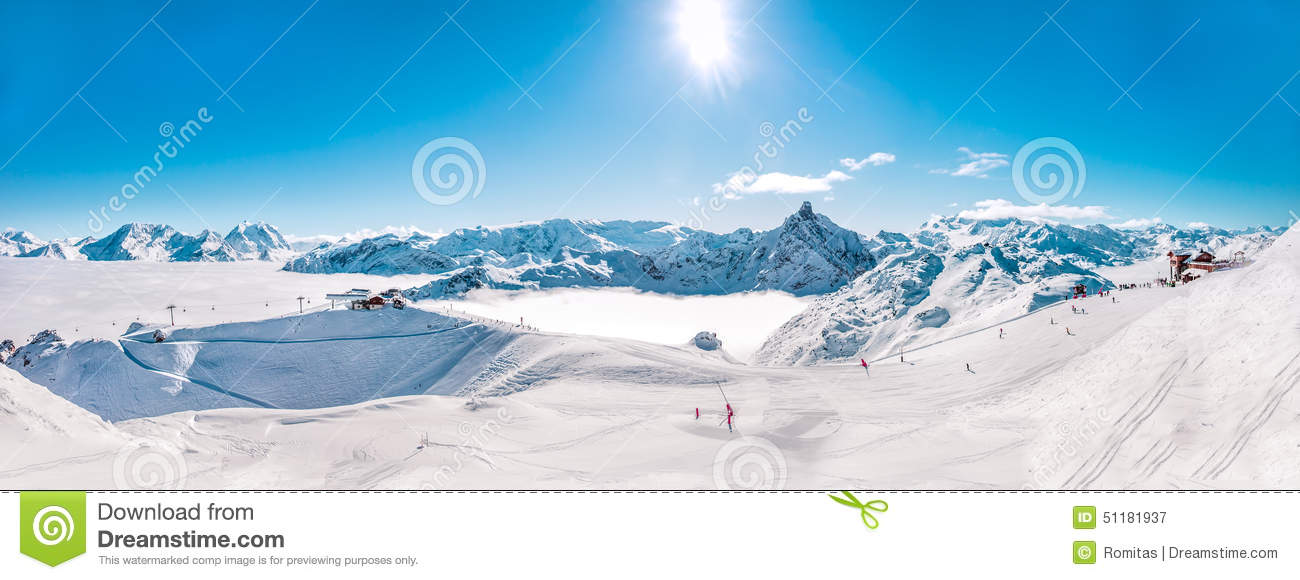 Panorama of Mountain Range winter Landscape in French Alps.