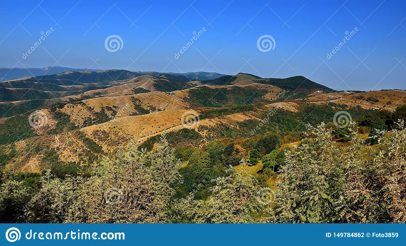 Panorama of mountains with blue sky in Russia Krasnodar region