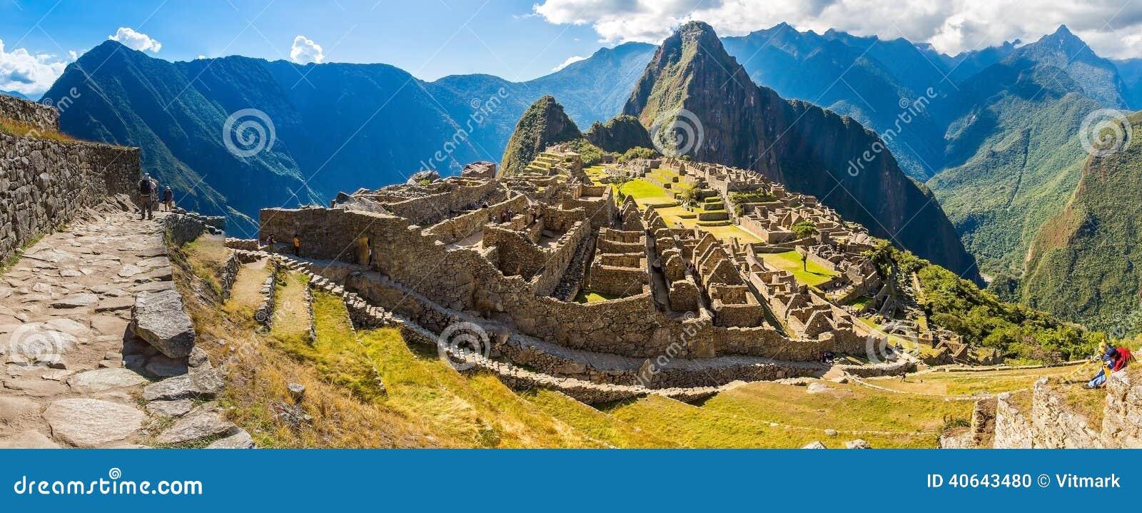 Panorama of Mysterious city - Machu Picchu, Peru, South America. The Incan ruins.