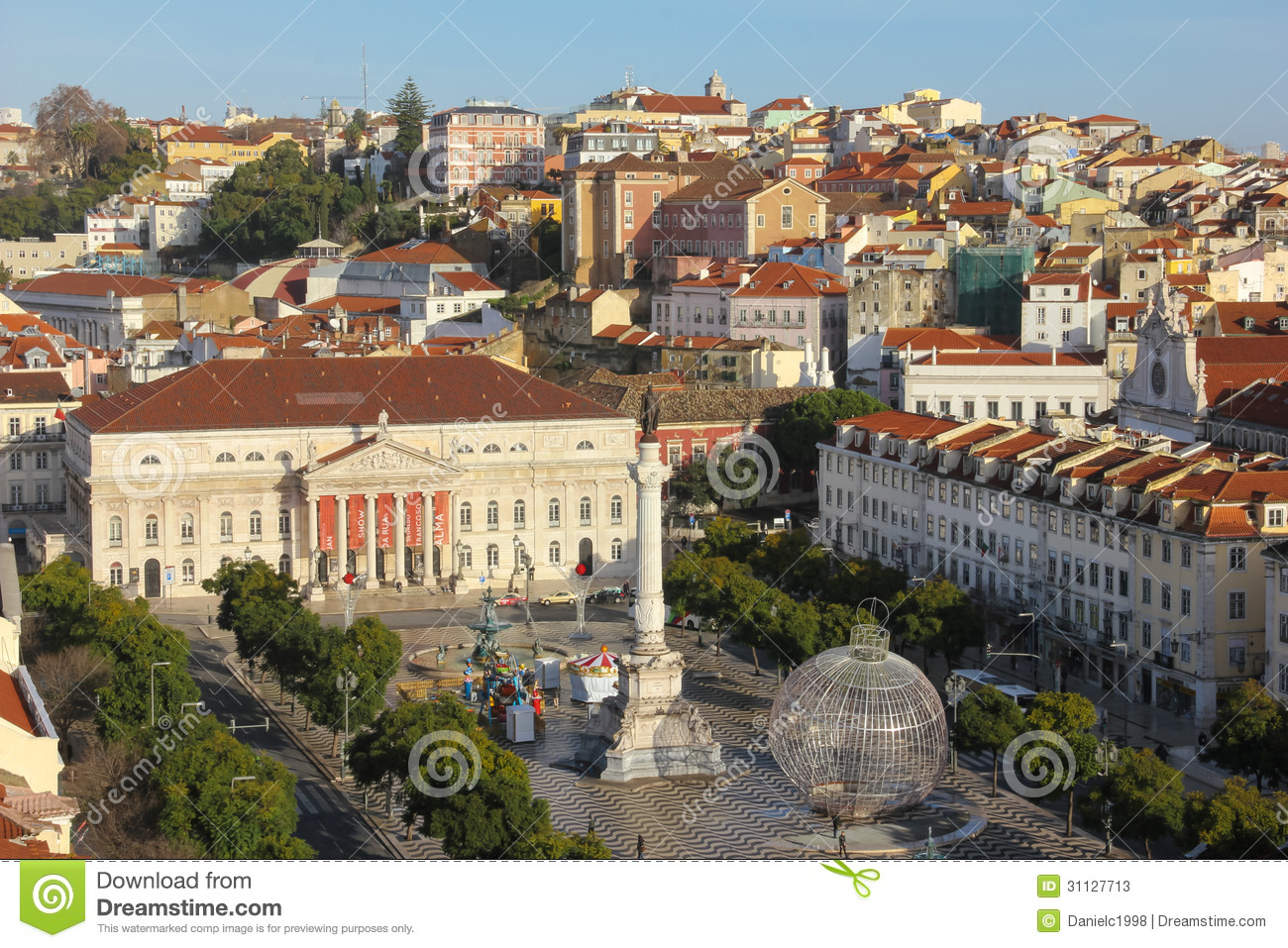 Panorama  The National Teather And Rossio Square  Lisbon