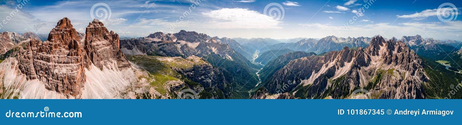Panorama-nationaler Natur-Park Tre Cime In die Dolomit-Alpen Seien Sie
