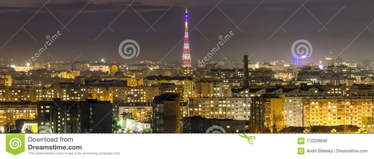 Panorama Of Night Aerial View Of Ivano-Frankivsk City, Ukraine