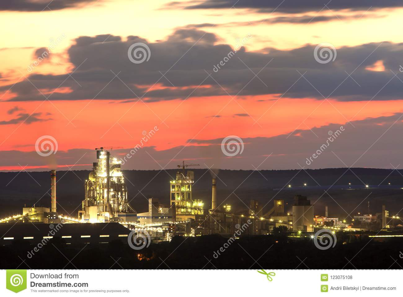 Panorama Night View Of Brightly Lit Modern Cement Plant And Power