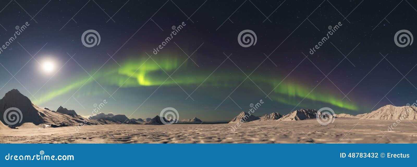 PANORAMA - Northern Lights above the Arctic glacier - Svalbard, Spitsbergen