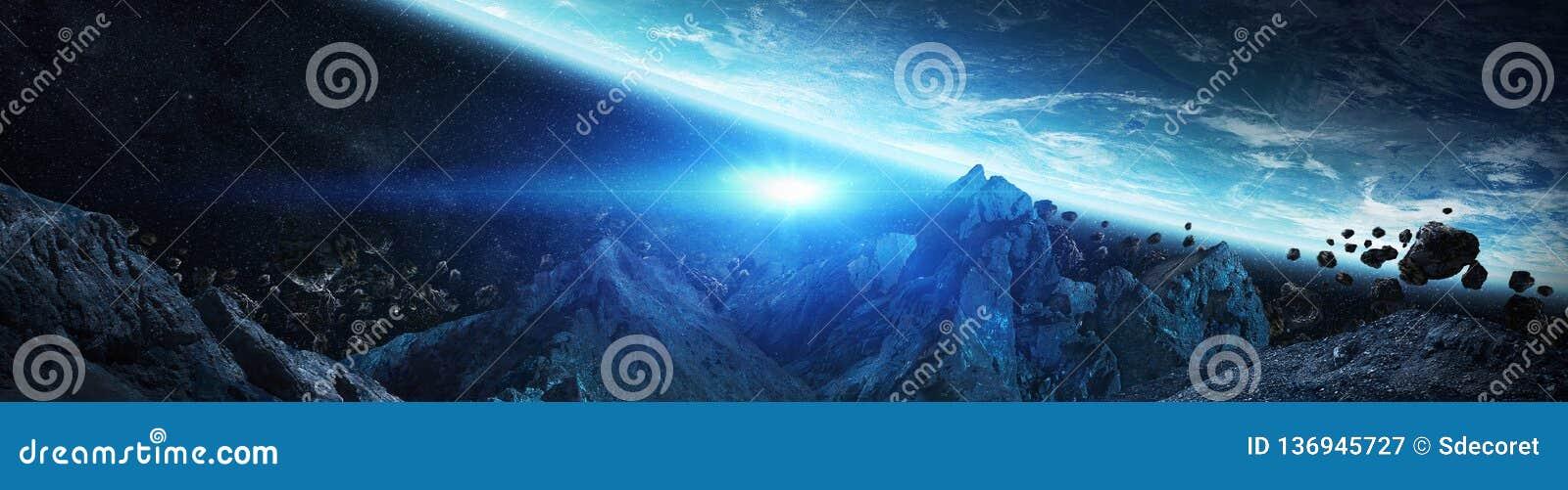 Panorama odległy planeta system w astronautycznych 3D renderingu elementach ten wizerunek meblujący NASA