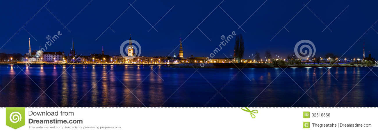 Download Panorama Of Old Riga In Night Time Stock Photo - Image of historical, europe: 32518668