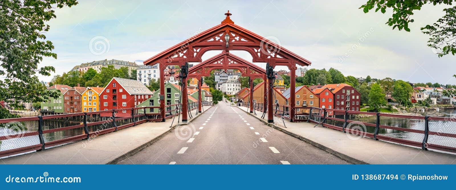 Panorama of the Old Town Bridge or Gamle Bybro of Trondheim, Norway