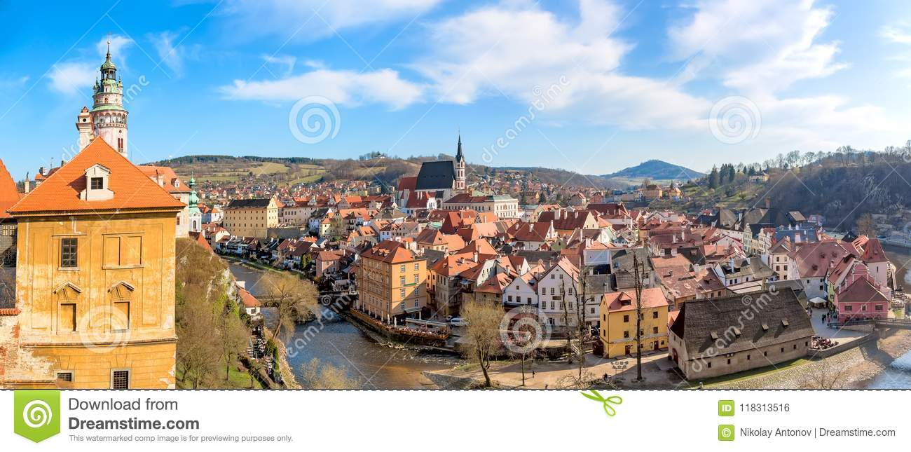 Panorama of the old Town of Cesky Krumlov in South Bohemia, Czech Republic with blue sky. UNESCO World heritage Site and famous pl