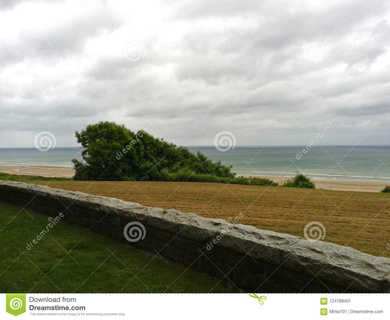 Panorama Of Omaha Beach, Normandy Coast  Stock Image - Image
