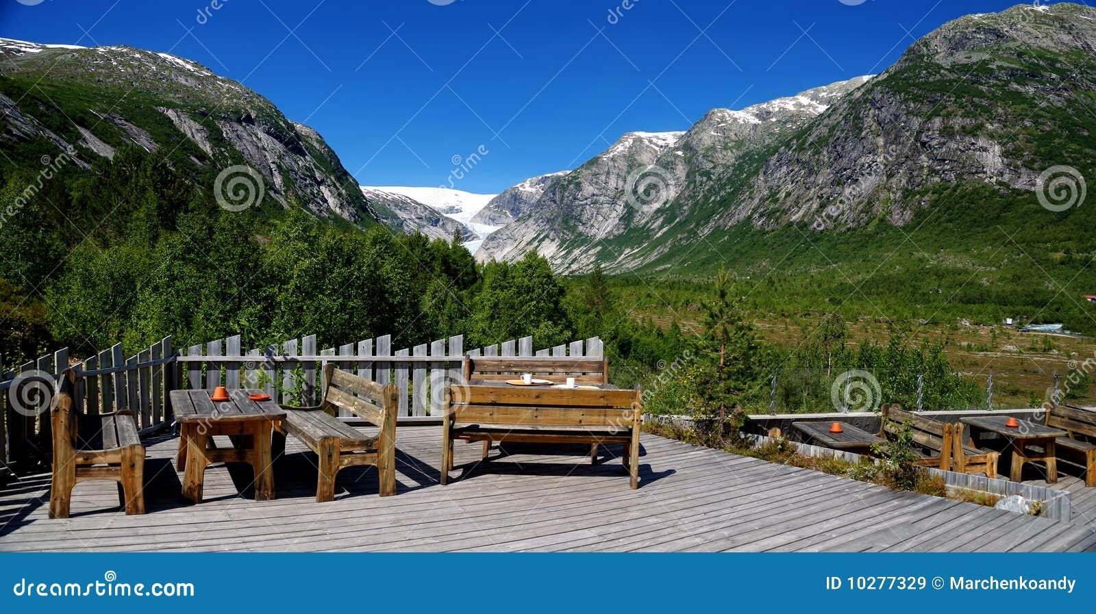 Panorama op gletsjer Nigardsbreen. Noorwegen