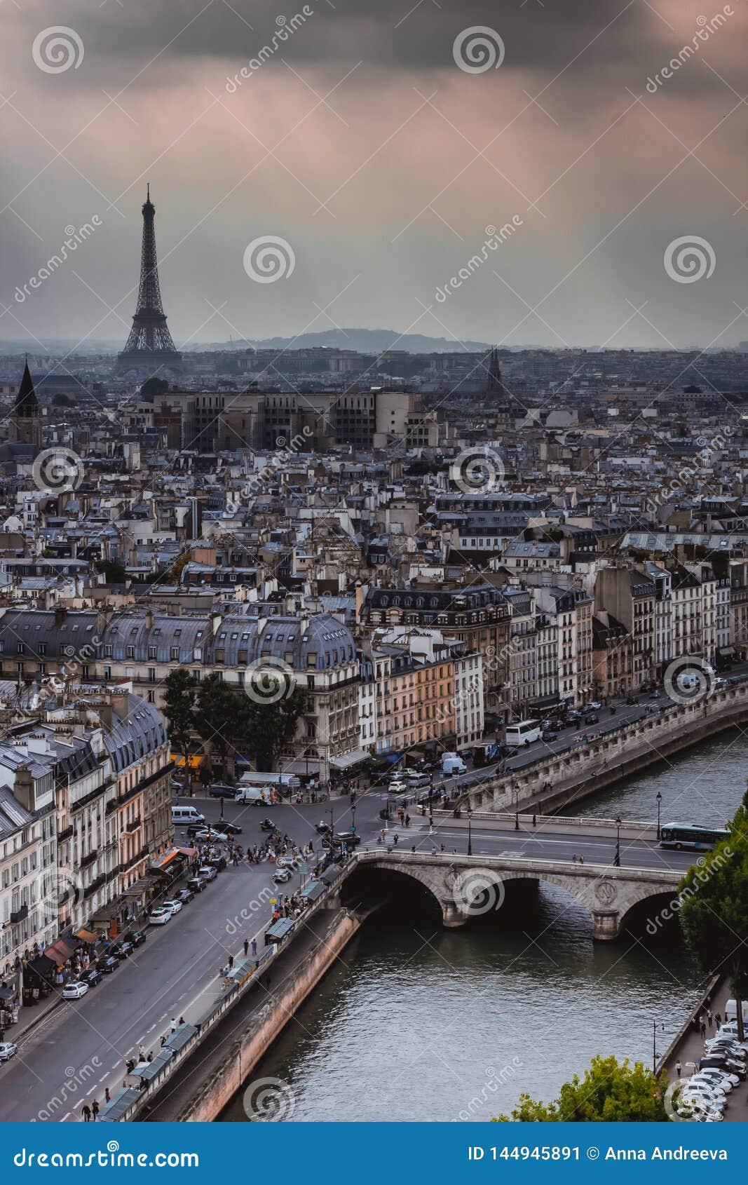 Panorama op Parijs en Zegen van Notre Dame-kathedraal