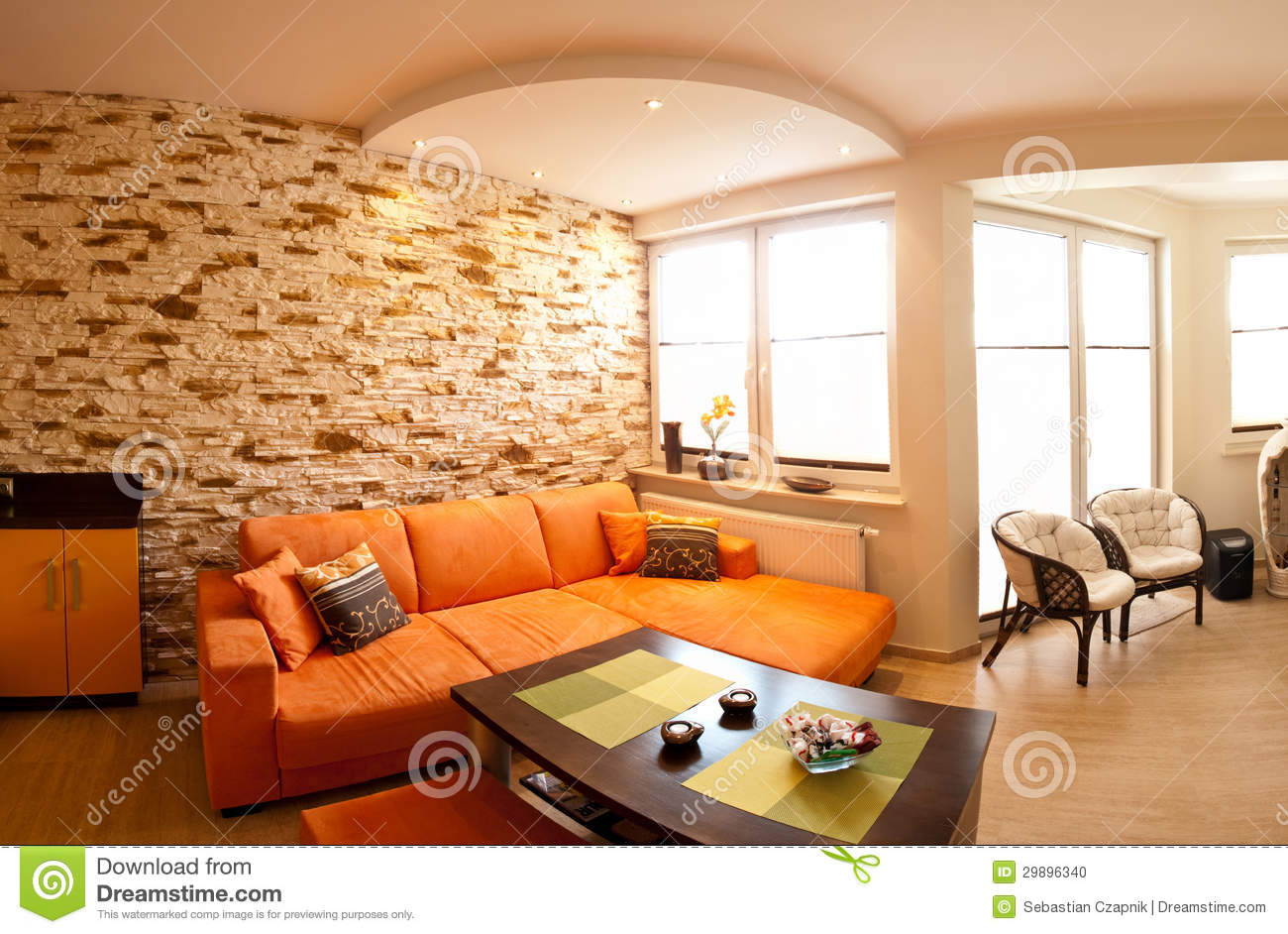 Orange Room Panorama Stock Photo - Image: 29896340