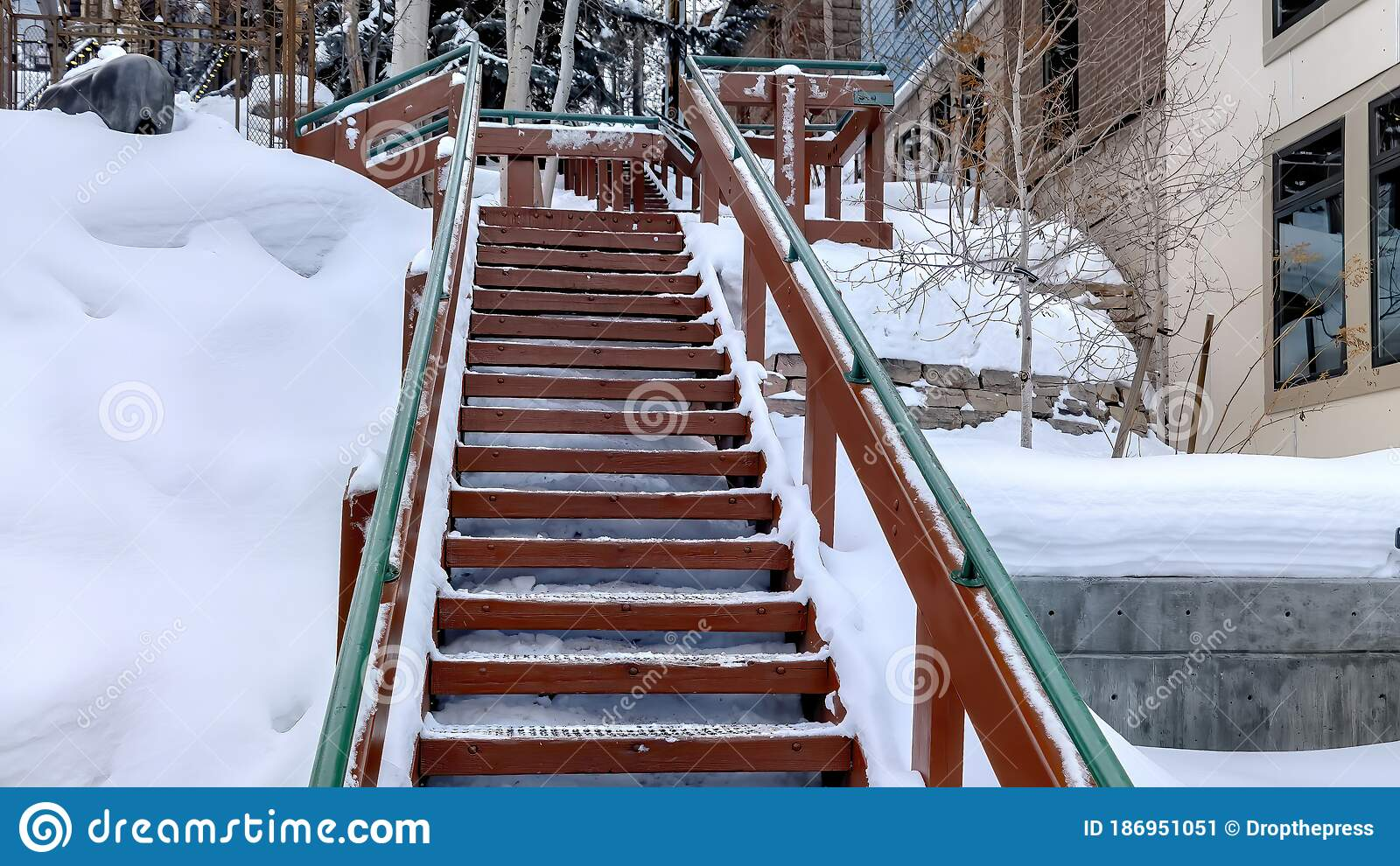 Image of: Panorama Outdoor Stairs With Grate Metal Treads And Green Handrail On Snowy Winter Hill Stock Image Image Of Hill Architectural 186951051