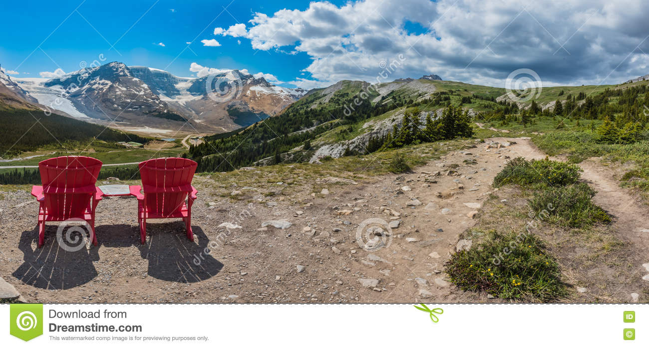 Panorama Pair of Red Chairs on the Trail Up to Wilcox Pass