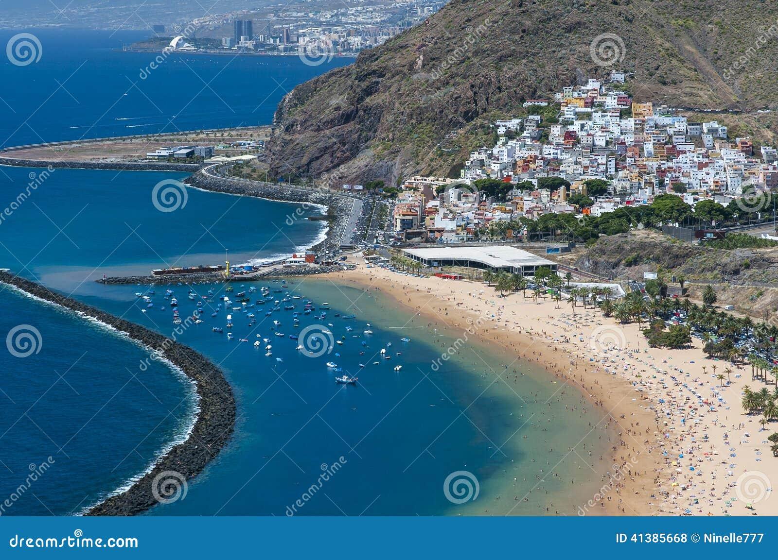 Panorama plażowy Las Teresitas, Tenerife, wyspy kanaryjska, Hiszpania