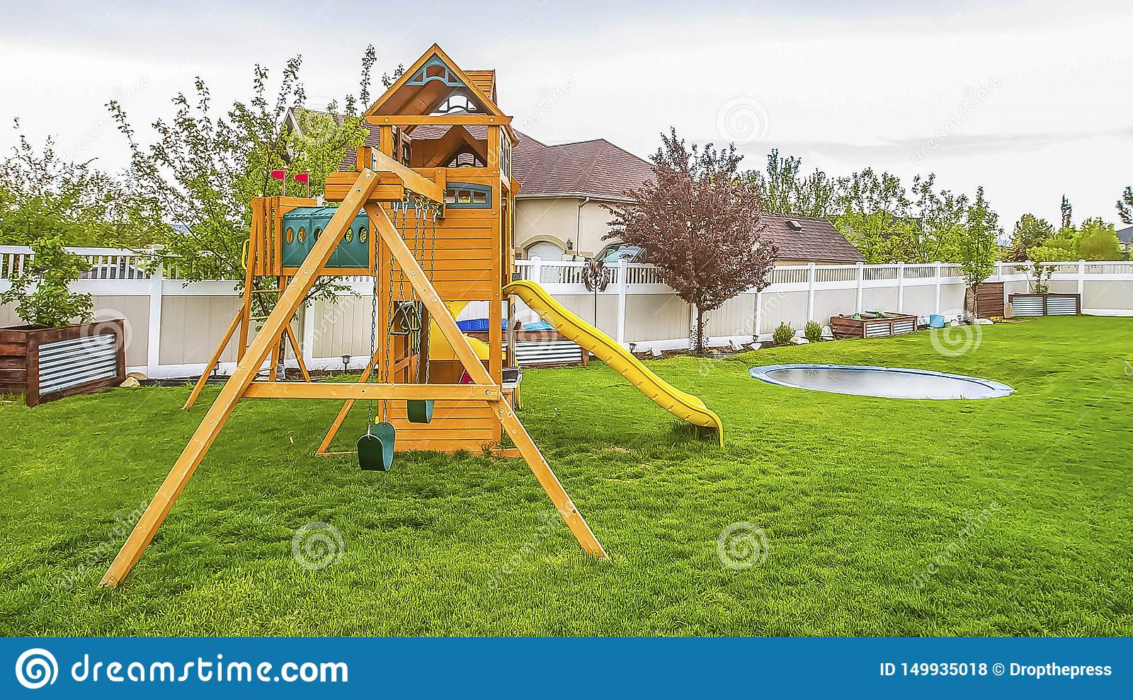 Panorama Playground Equipment And Small Pool At The ...