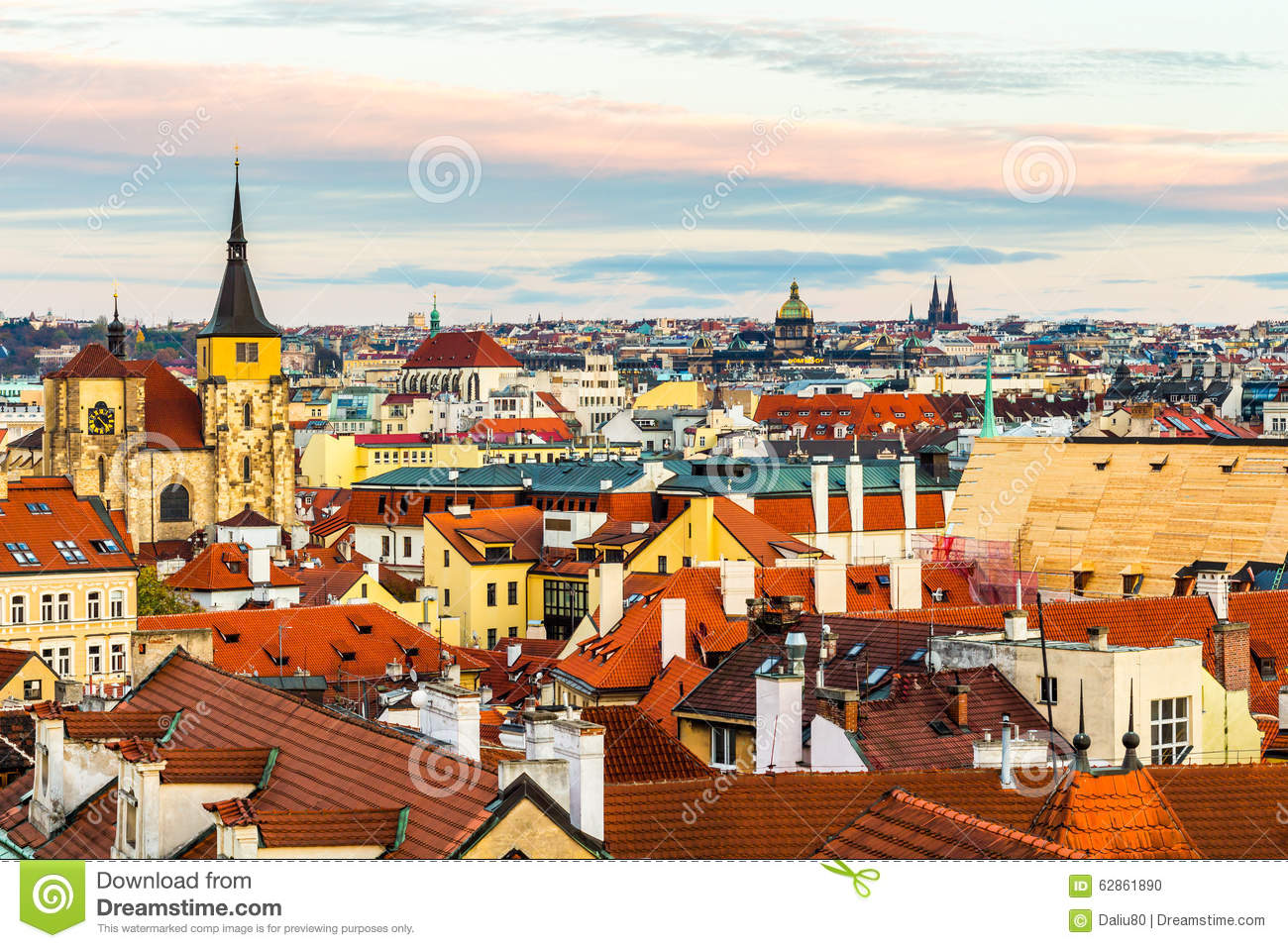 Panorama Of Prague With Red Roofs From Above Summer Day At