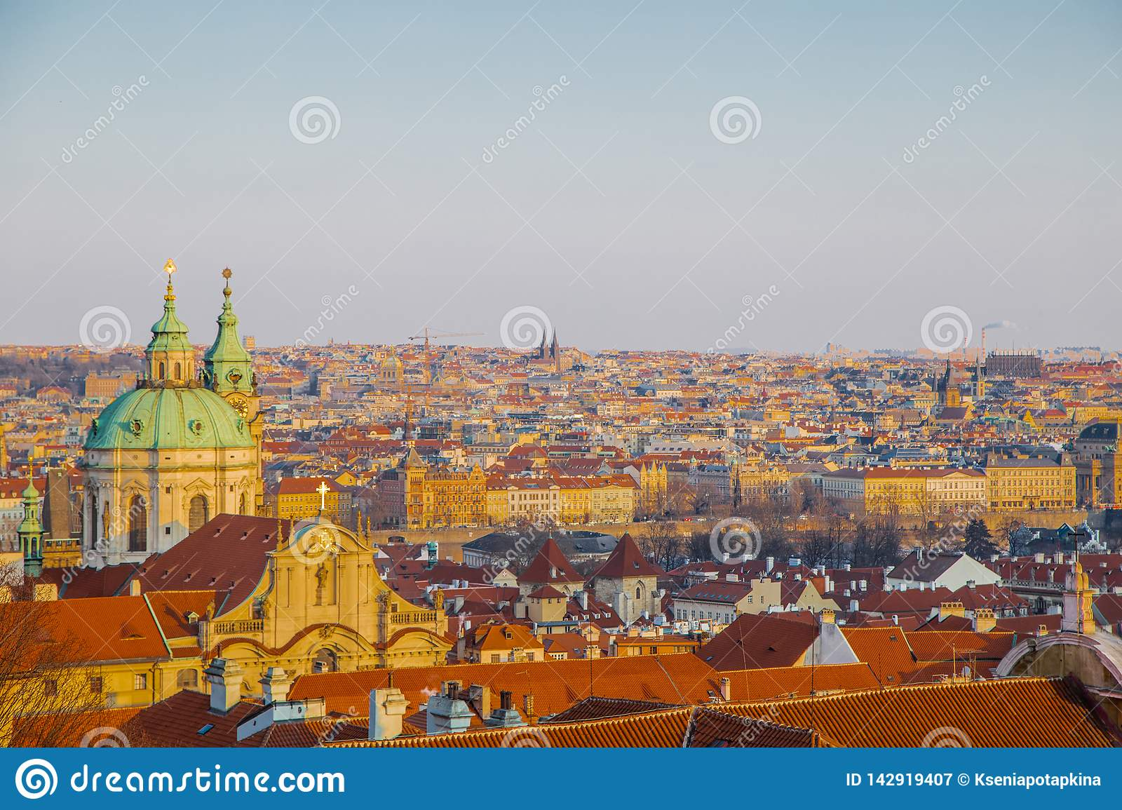 Panorama of Prague. It is sunny
