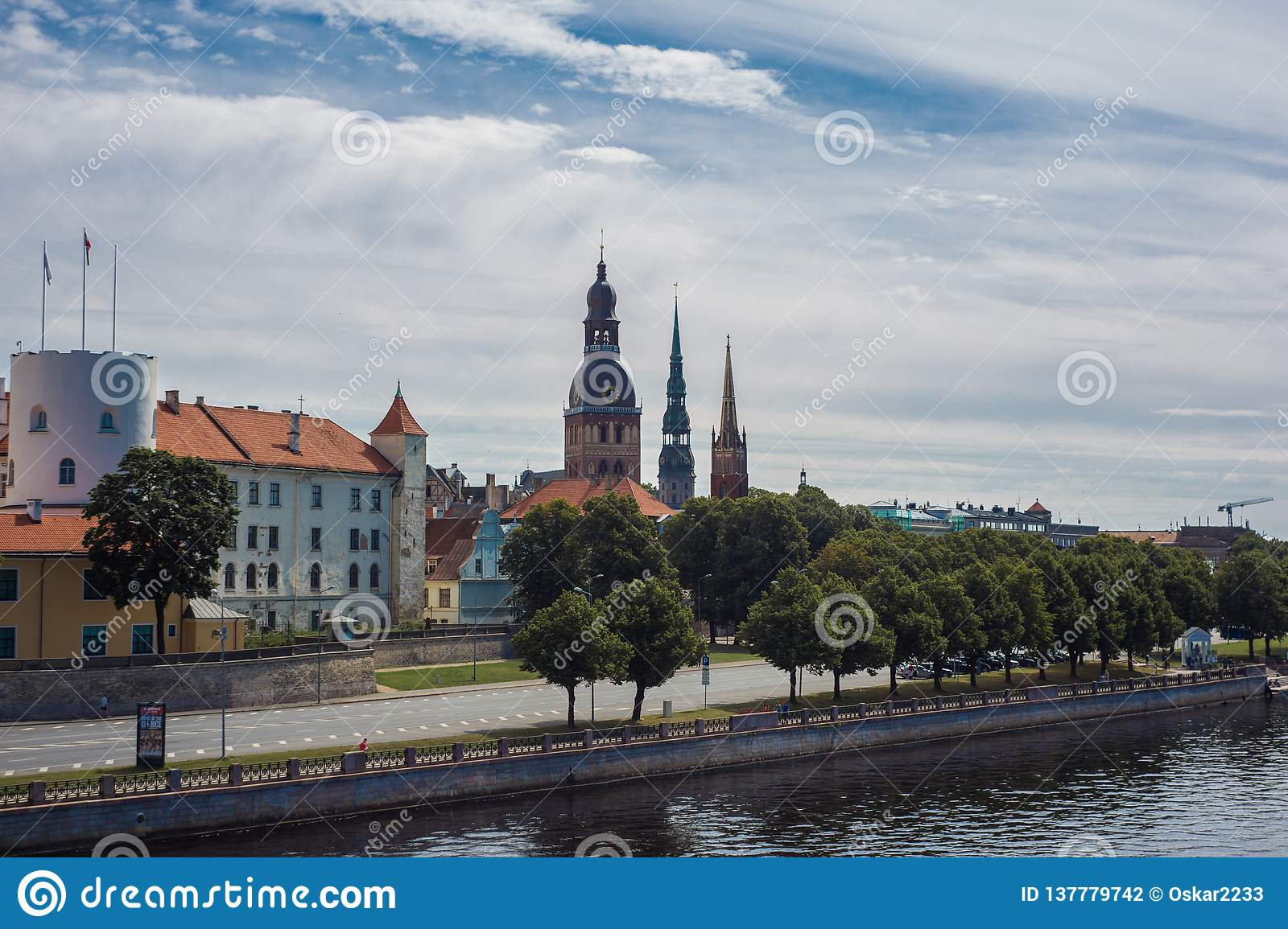 Panorama of Riga on a sunny day