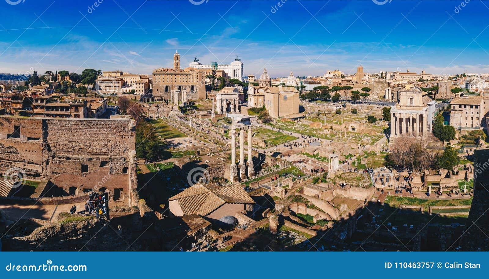 Panorama Romański forum Foro romano Romańskie ruiny i jak widzii