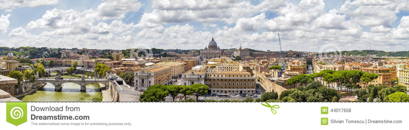 Panorama of Rome, Italy.