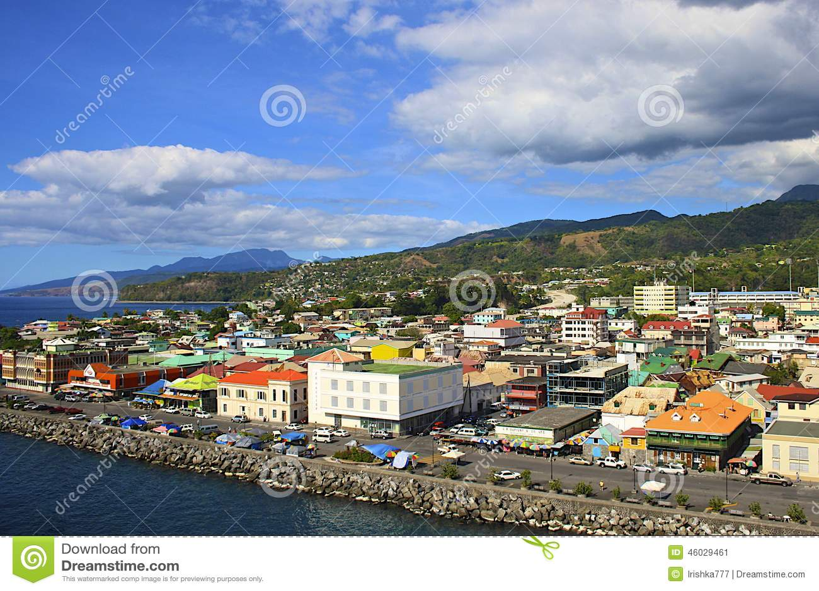 Panorama of Roseau, Dominica, Caribbean